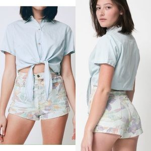 American Apparel high waisted floral print shorts